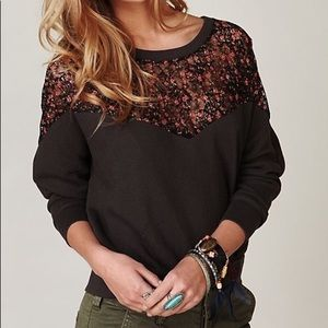 •traded• free people lace insert sweatshirt